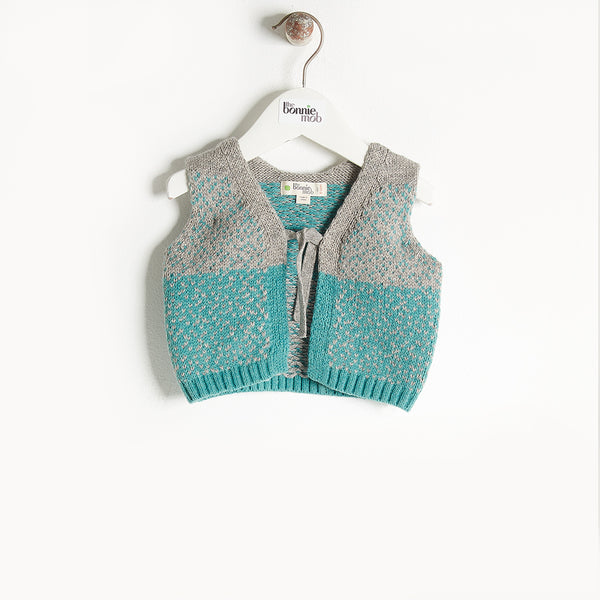 WARREN - Chunky Knit Gilet - Kids Boy - Teal