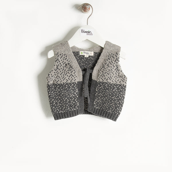 WARREN - Chunky Knit Gilet - Kids Unisex - Grey