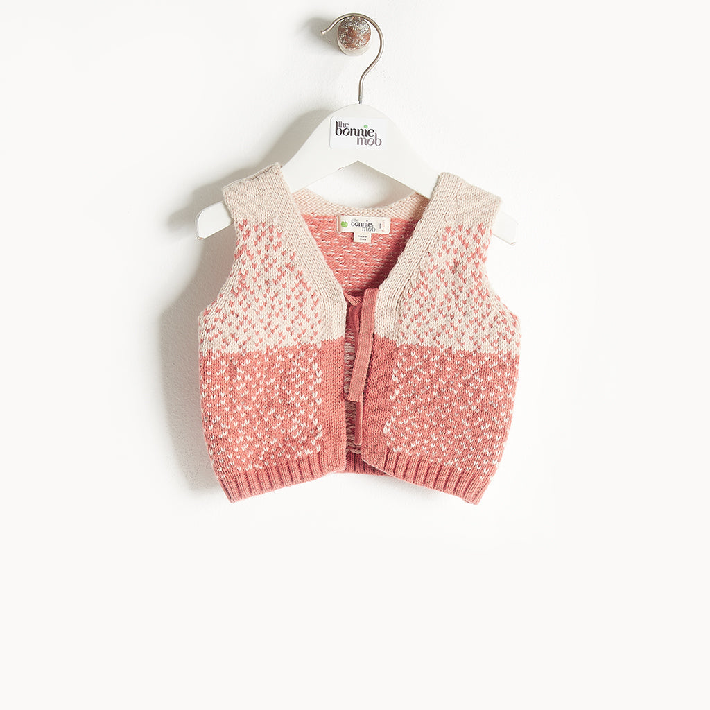 WARREN - Chunky Knit Gilet - Baby Girl - Pink