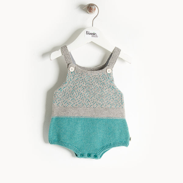 WIDGET - Chunky Knit Romper - Baby Boy - Teal