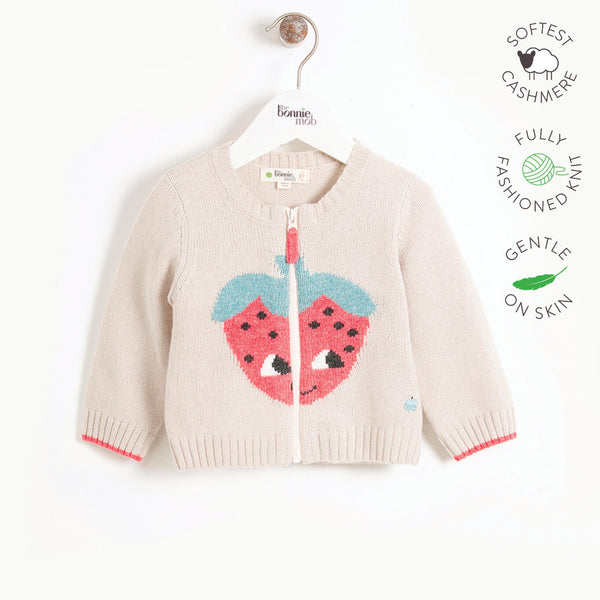 WINSTON - Kids Strawberry Intarsia Cardigan  - SAND