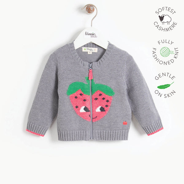 WINSTON - Baby Strawberry Intarsia Cardigan - GREY