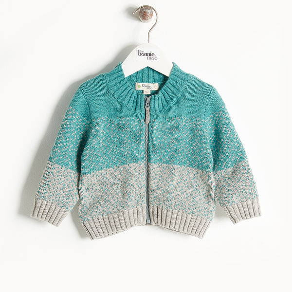 WONDER - Chunky Knit Cardigan - Baby Boy - Teal