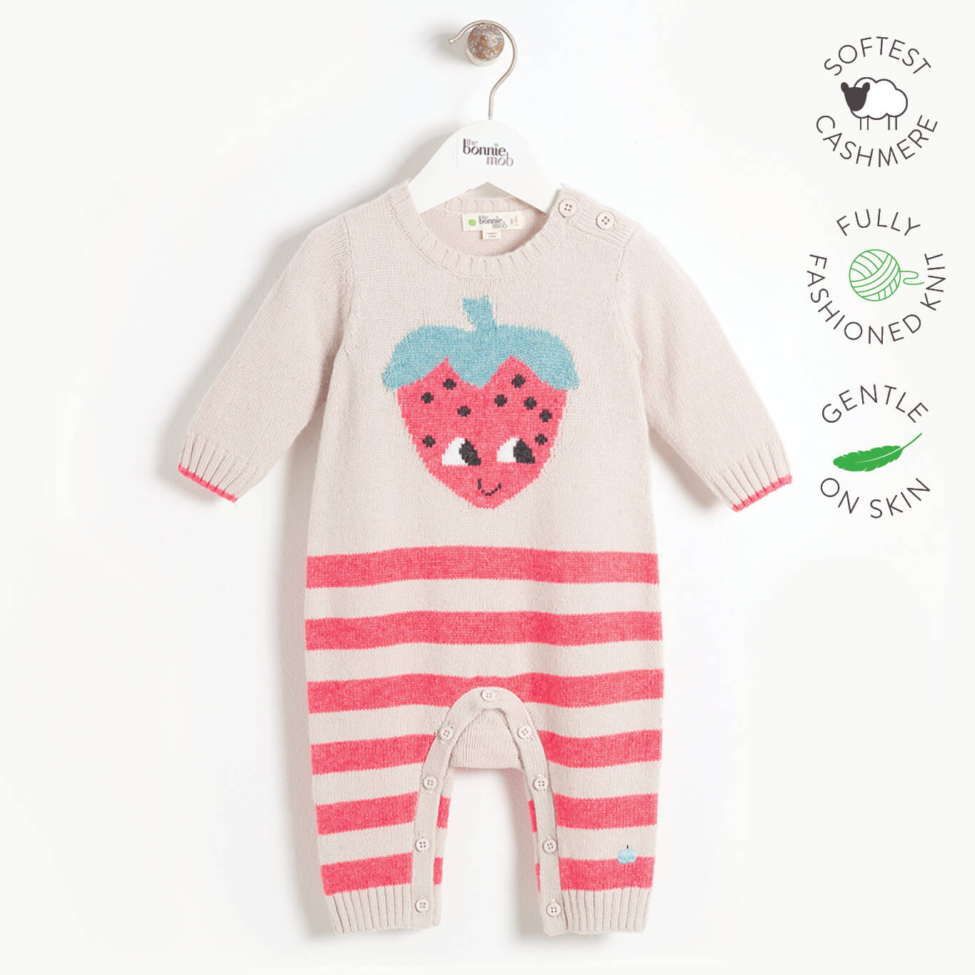 WORLD - Baby Strawberry Intarsia Playsuit - SAND