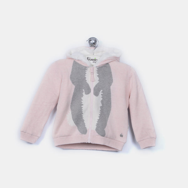 L-DOMINO - Bunny Body Hooded Lined Jacket - Baby Girl - Pink calico