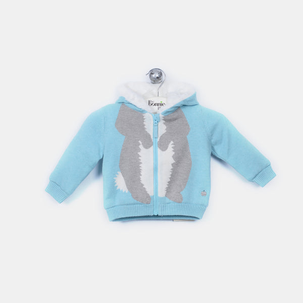 L-DOMINO - Bunny Body Hooded Lined Jacket - Baby Boy - Surf