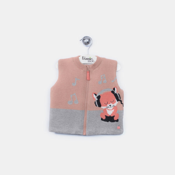 L-FINLAY - Funky Fox Gilet - Baby Girl - Dune pink