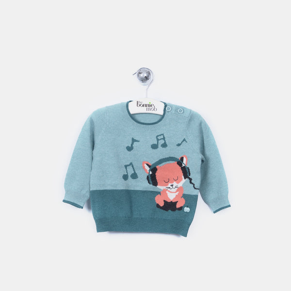 L-FRANCIS - Funky Fox Jumper - Kids Boy - Cloudy jade