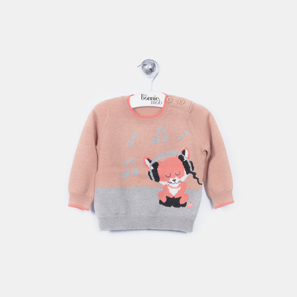 L-FRANCIS - Funky Fox Jumper - Kids Girl - Dune pink