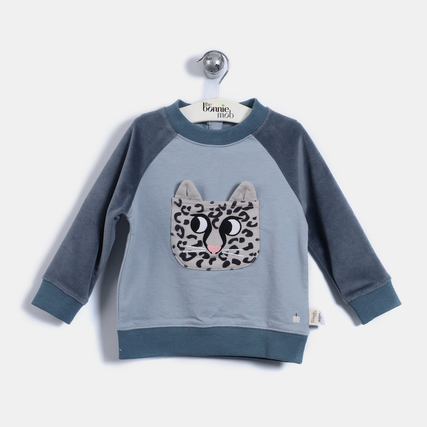 L-LENNY - Leopard Pocket Sweatshirt - Kids Boy - Vintage blue