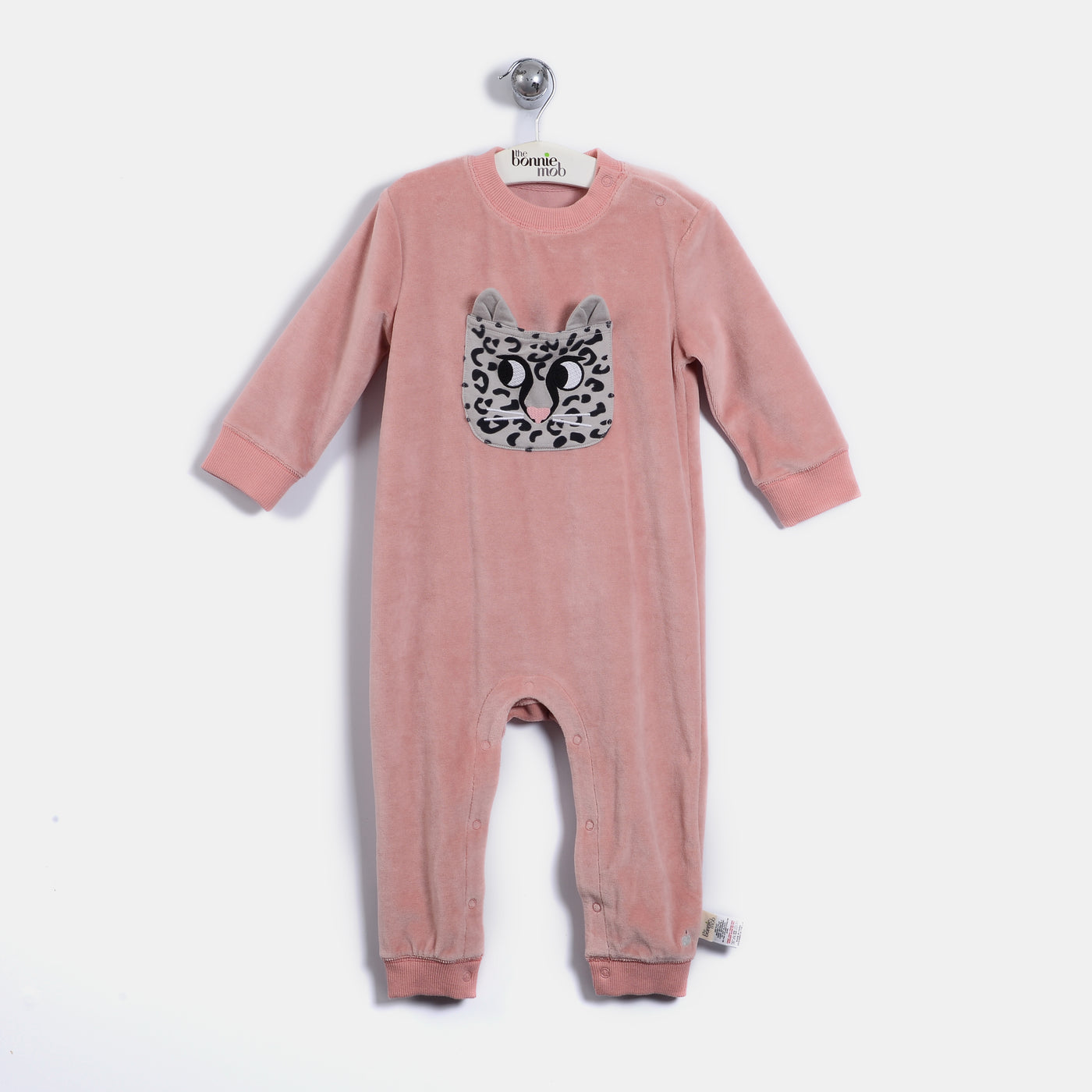 L-LEO - Leopard Pocket Playsuit - Baby Girl - Dusty pink