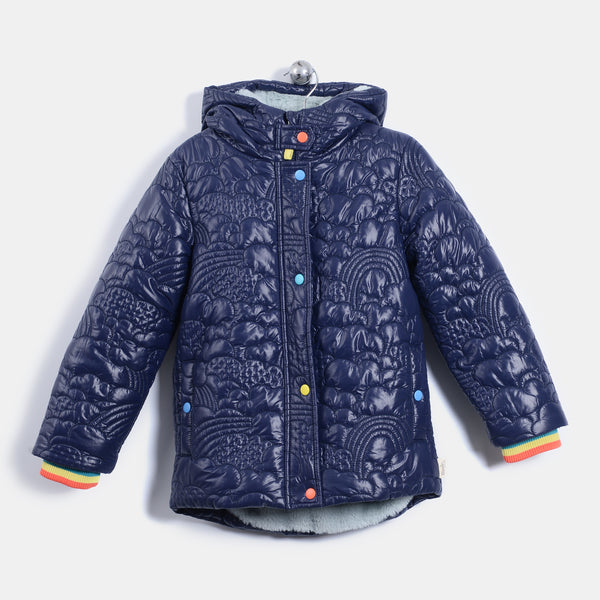 L-BAILEY - Quilted Nylon Long Length Jacket - Kids Unisex - Navy