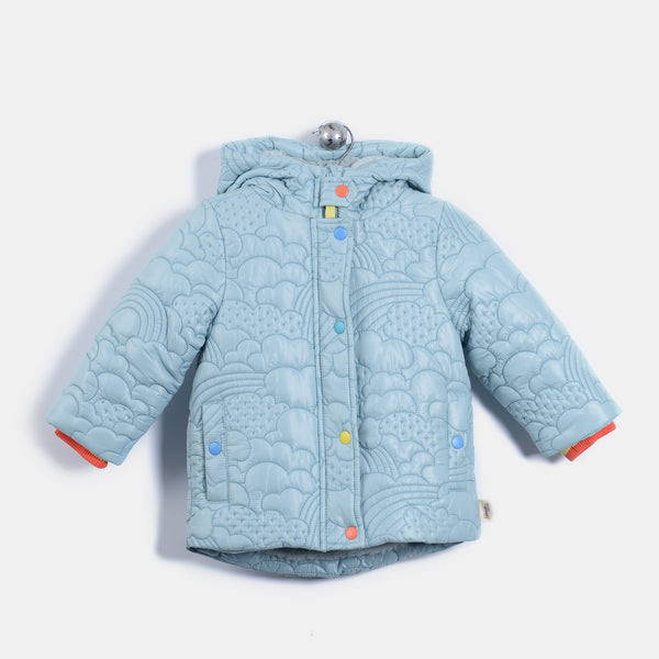 L-BAILEY - Quilted Nylon Long Length Jacket - Kids Unisex - Vintage blue