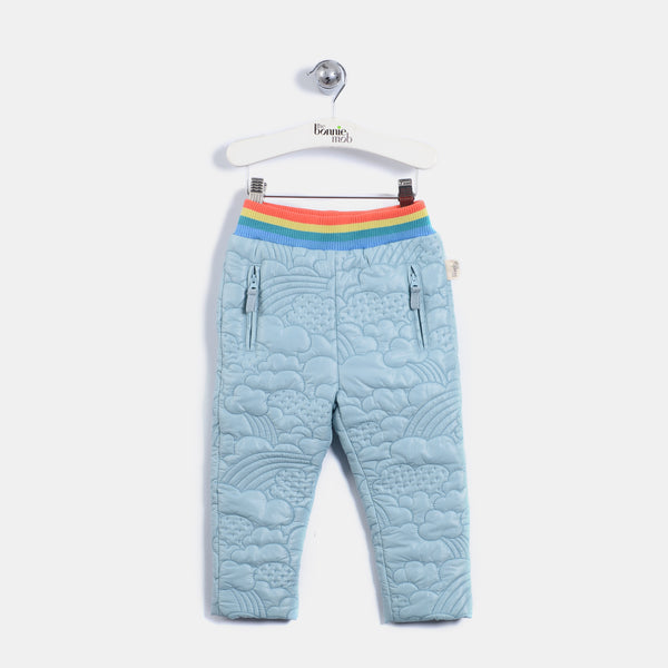 L-BILBO - Quilted Nylon Trousers - Kids Unisex - Vintage blue