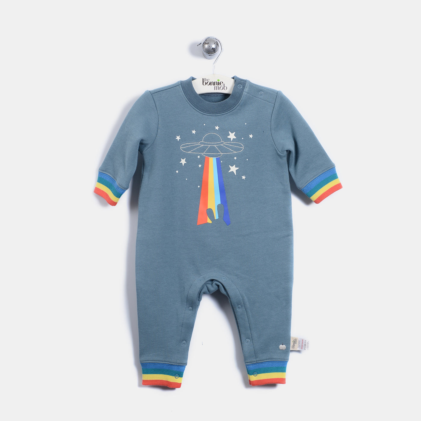 L-QUENTIN - Quilted Rainbow Spaceship Playsuit - Baby Boy - Vintage blue