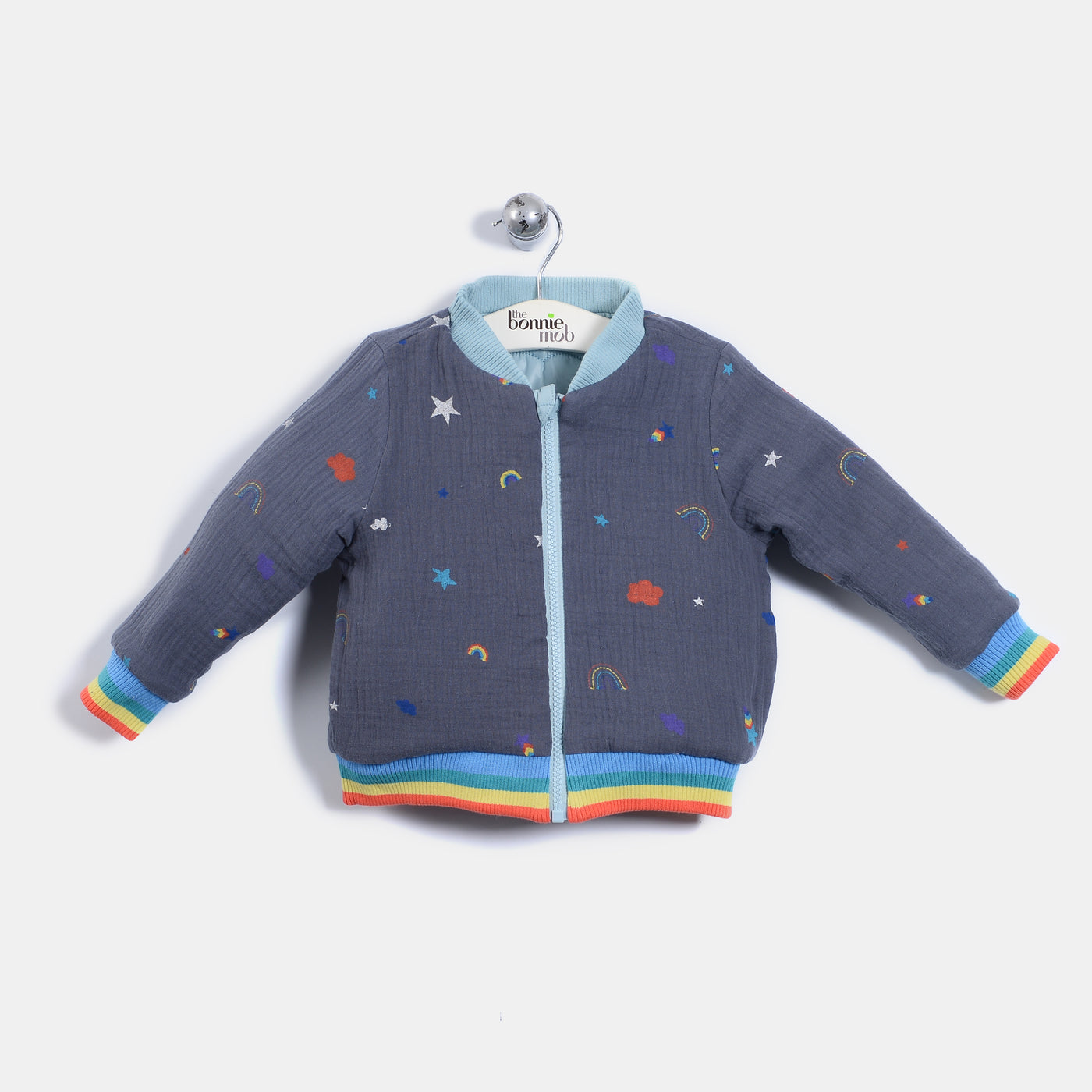 L-BLAKE - Rainbow And Star Print Quilted Nylon Reversible Bomber Jacket - Kids