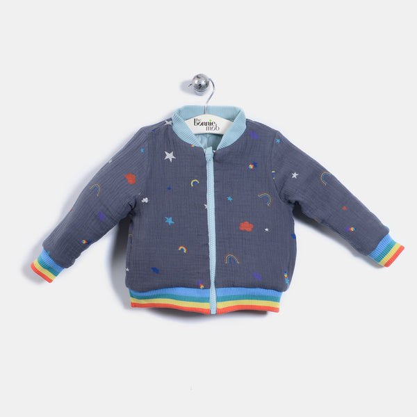 L-BLAKE - Rainbow And Star Print Quilted Nylon Reversible Bomber Jacket - Baby Unisex - Rainbow and star print