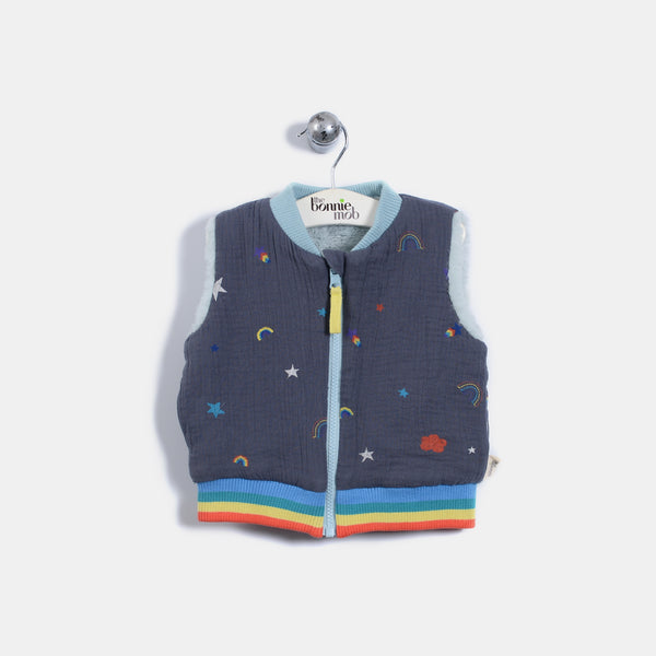 L-BRANDON - Rainbow And Star Print With Faux Fur Reversible Gilet - Kids