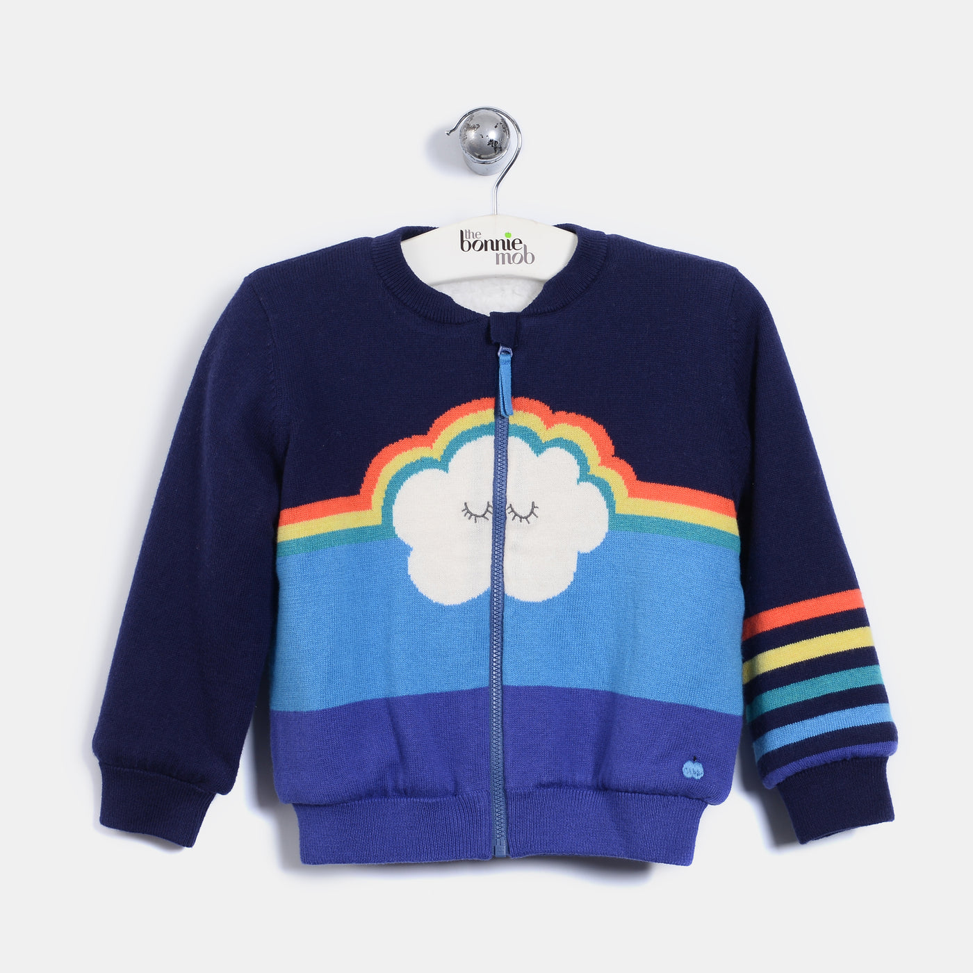 L-CHARLIE - Rainbow Cloud Zip Cardigan - Baby Boy - Gitane blue