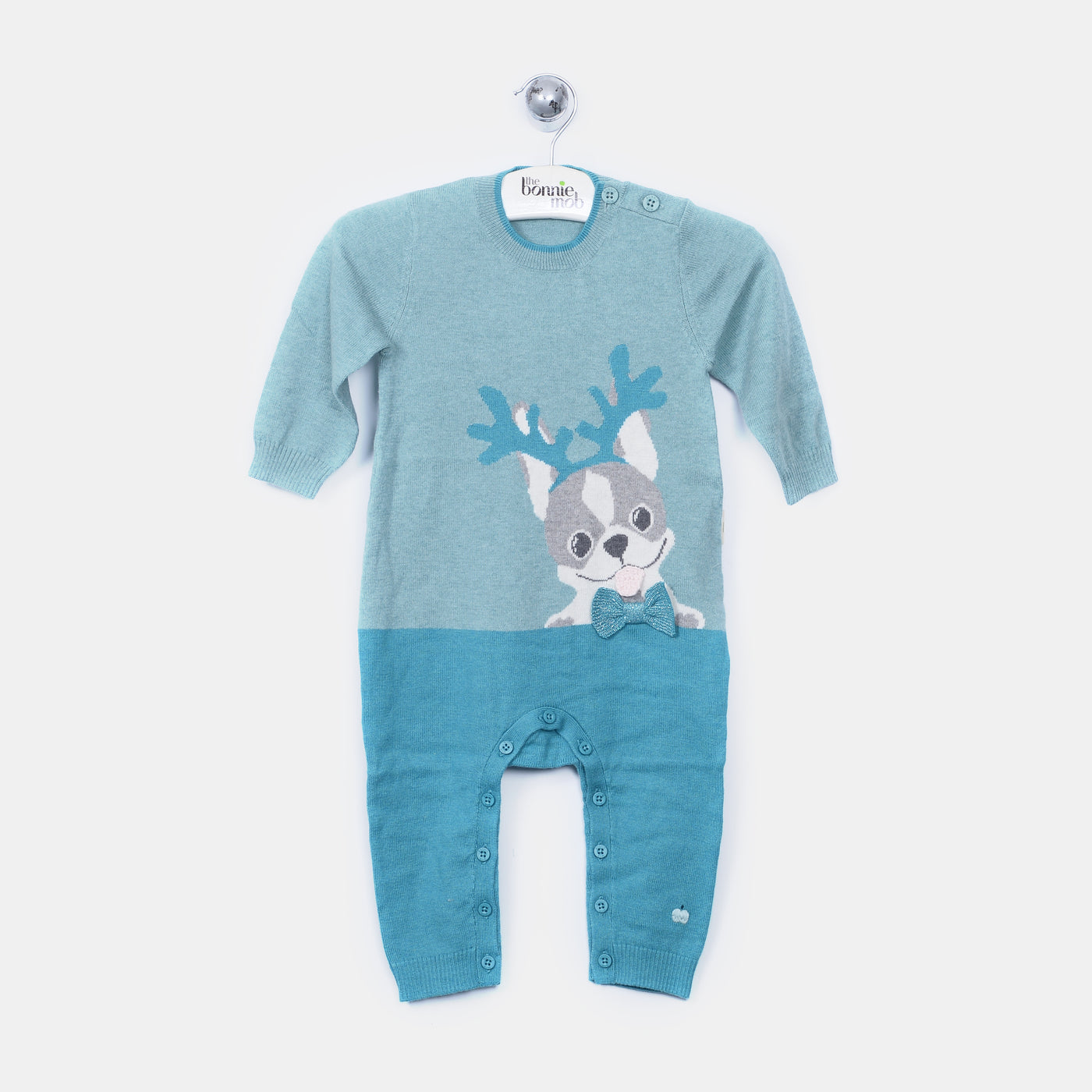 L-REEGAN - Reindeer Dog Playsuit - Baby Boy - Cloudy jade