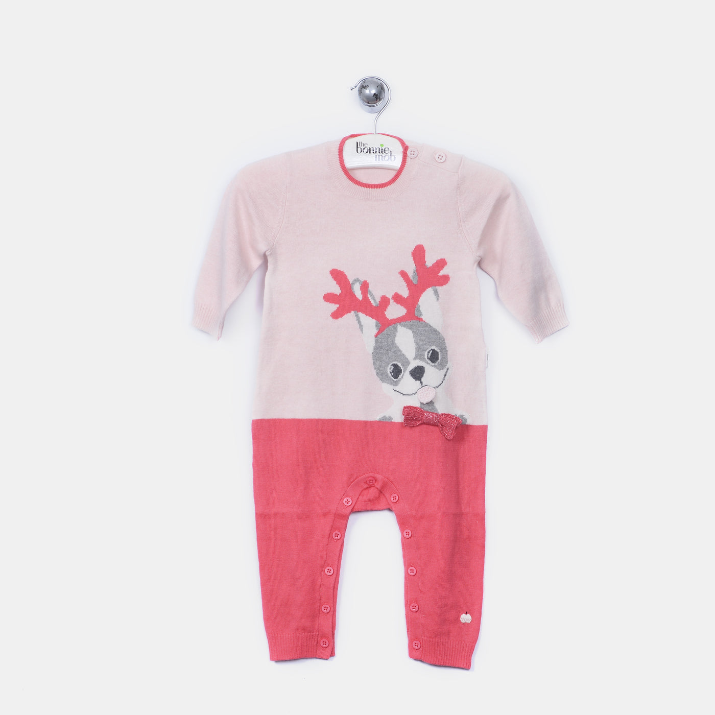 L-REEGAN - Reindeer Dog Playsuit - Baby Girl - Pink calico