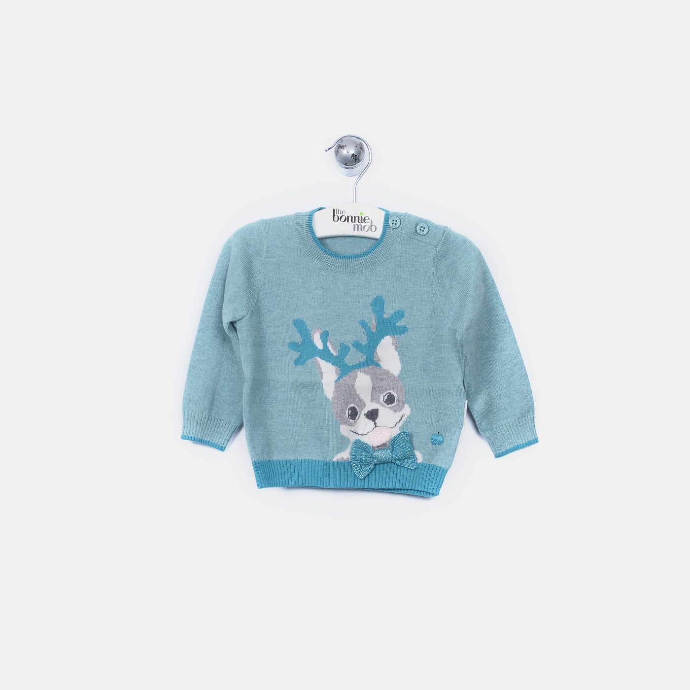 L-REMI - Reindeer Dog Jumper - Baby Boy - Cloudy jade