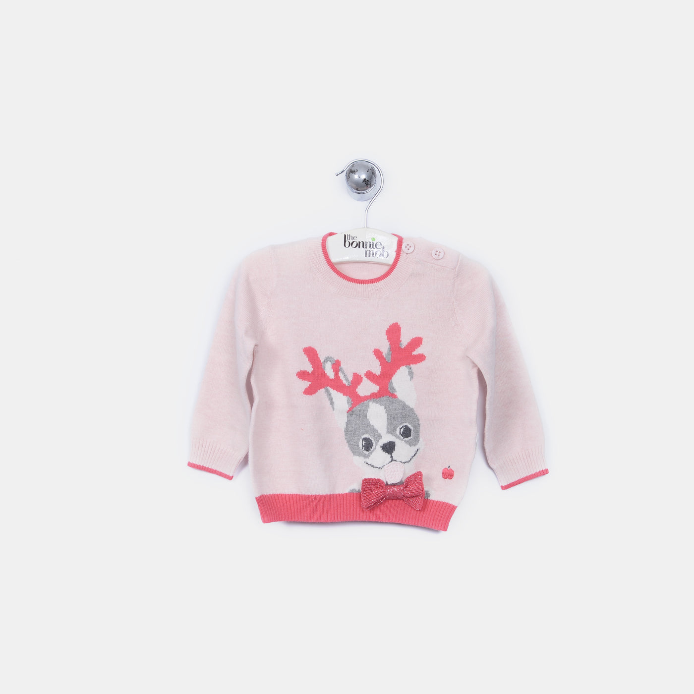 L-REMI - Reindeer Dog Jumper - Baby Girl - Pink calico