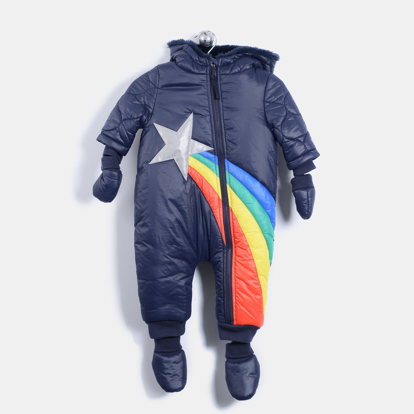 L-AMBER - Shooting Star Padded Snowsuit - Baby Unisex - Navy