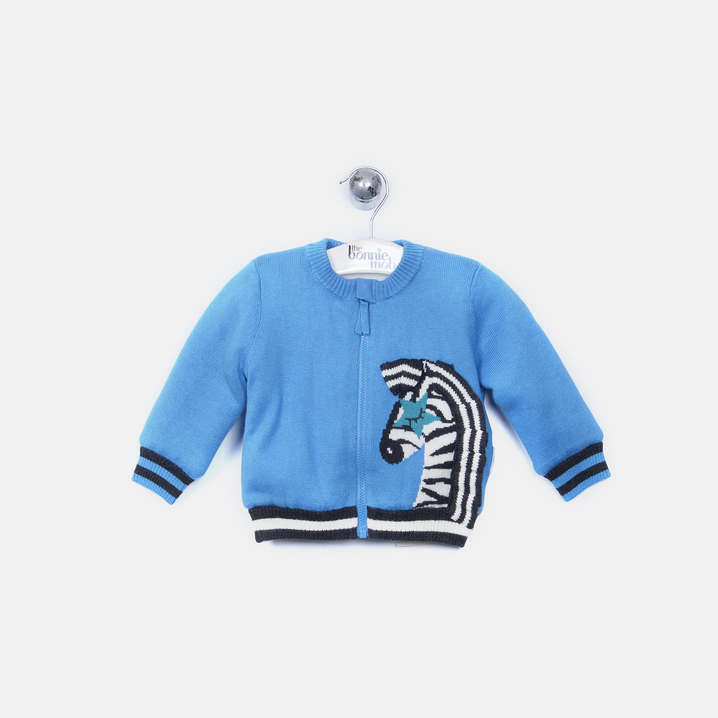 L-ZACHERY - Zebra Fringe Fur Lined Zip Cardigan - Baby Boy - Gitane blue
