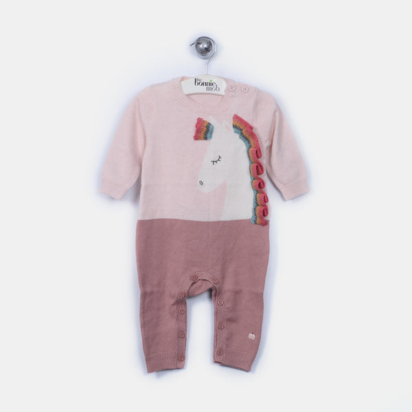 L-ULLA - Unicorn Rainbow Ruffle Playsuit - Baby Girl - Pink calico