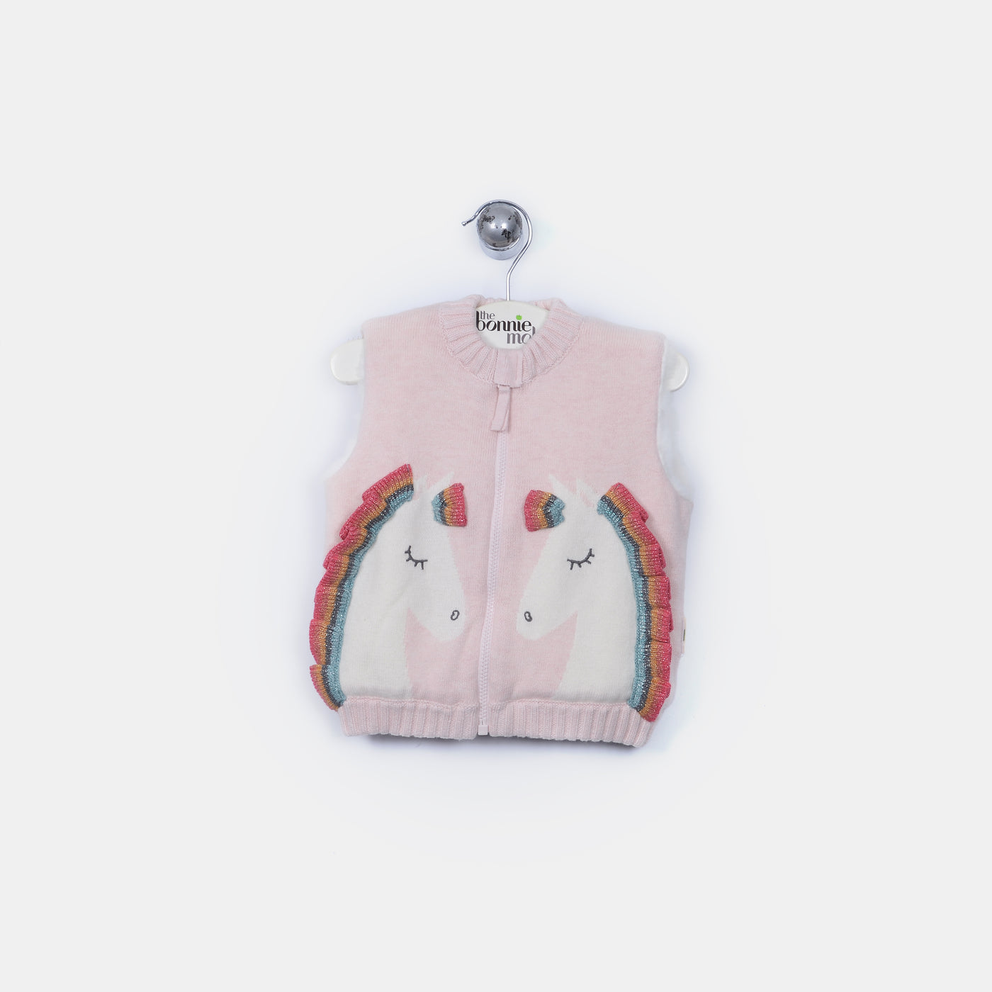 L-URI - Unicorn Rainbow Ruffle Lined Gilet - Kids Girl - Pink calico