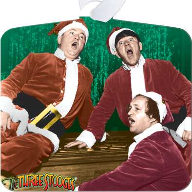 Three Stooges Singing Metal Christmas Ornament
