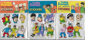 Three Stooges Vintage 1980 Puffy Sticker Set of 3