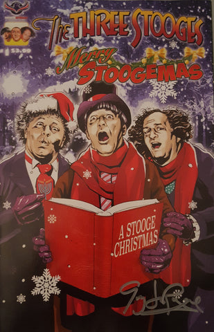 The Three Stooges Comic Book Series 5 / Cover 1 Limited Edition: Merry Stoogemas - AUTOGRAPHED - READY TO SHIP