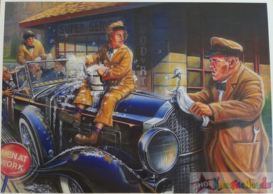 Three Stooges 8X11 Trading Card Print - Motor Marc Art - Car Wash