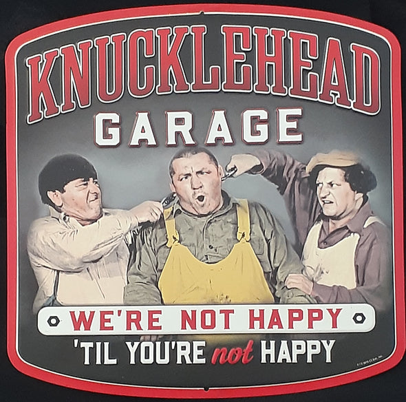 "Three Stooges Tin Sign: Knucklehead Garage Color - 12""X12"""