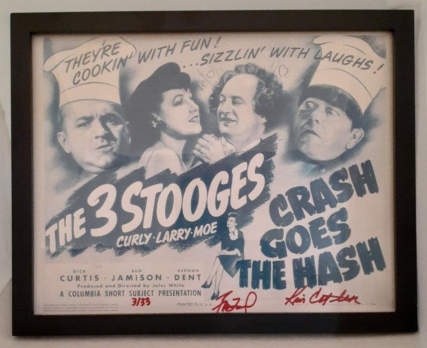 Three Stooges Crash Goes The Hash Lobby Card Reprint - Autographed By Heirs - Limited Edition