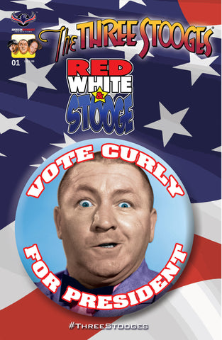 The Three Stooges Comic Book Series 3 / Cover 1: Red, White & Stooge - Curly - READY TO SHIP