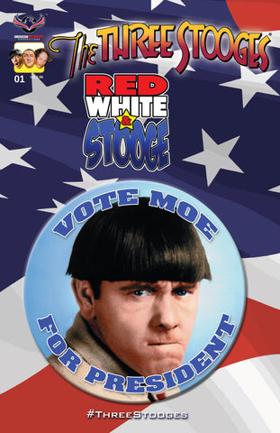 The Three Stooges Comic Book Series 3 / Cover 3: Red, White & Stooge - Moe - READY TO SHIP