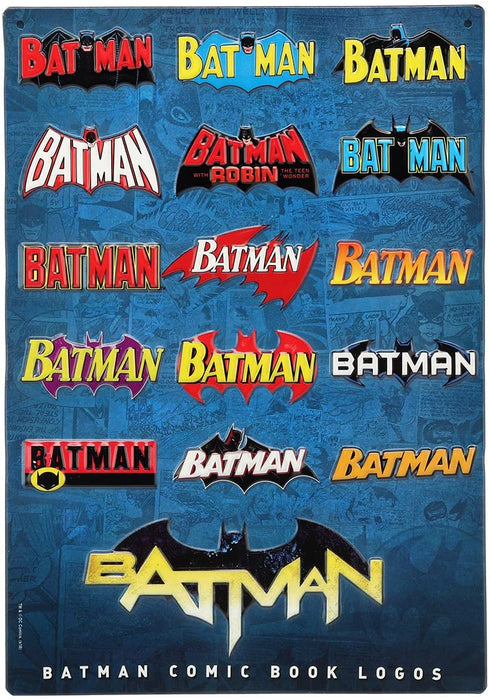 DC COMICS BATMAN LOGOS EMBOSSED SIGN
