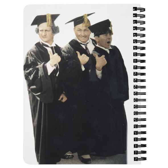 THREE STOOGES SPIRAL NOTEBOOK - GRADUATES - Free Shipping