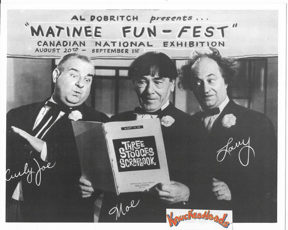 Three Stooges Original Glossy Promo Photo - Moe, Larry, Curly Joe On Promo - Matinee Fun Fest