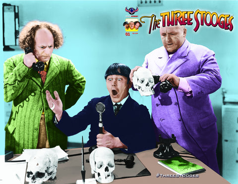 The Three Stooges Comic Book Series 4 / Cover 3: Frankenstooge - SkullPhone - READY TO SHIP