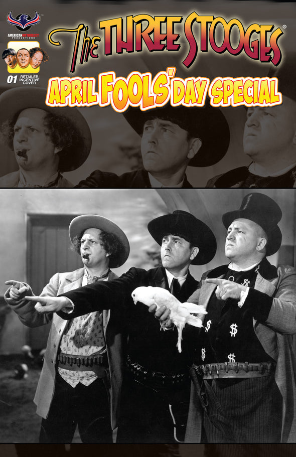 Three Stooges Comic Book Series 6 / Cover 4: April Fools' Day Rare B&W