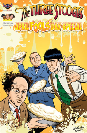 The Three Stooges Comic Book Series 6 / Cover 3: April Fools' Day Pie Cartoon