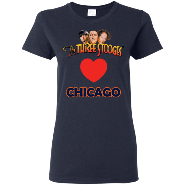 Three Stooges Love Chicago Ladies Heart T-Shirt