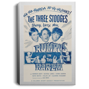 Three Stooges Rumpus In The Harem Lobby Card Portrait Canvas .75in Frame