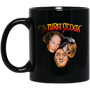 Three Stooges Classic Logo 11 oz. Black Mug FREE SHIPPING