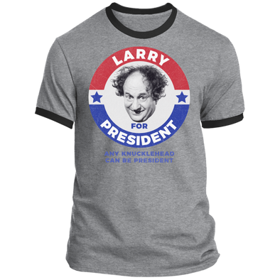 Three Stooges Larry For President Ringer T-Shirt
