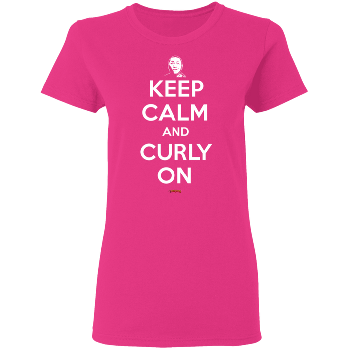 Three Stooges Keep Calm And Curly On Ladies' T-Shirt